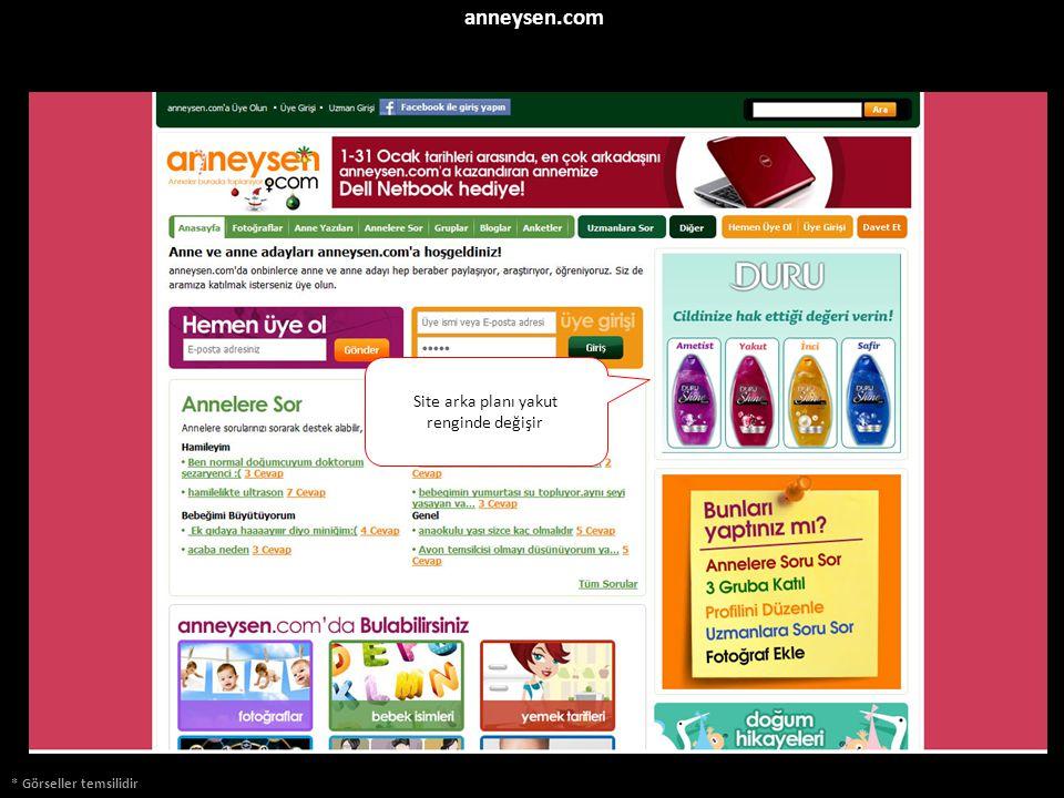 * Görseller temsilidir anneysen.com Site arka planı yakut renginde değişir