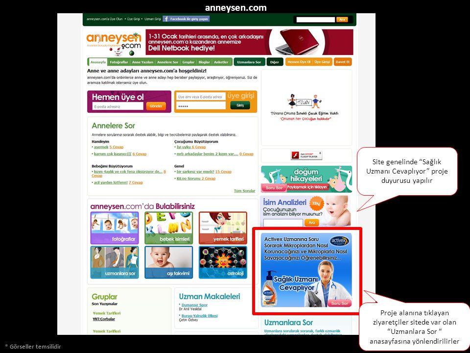 """* Görseller temsilidir anneysen.com Site genelinde """"Sağlık Uzmanı Cevaplıyor"""" proje duyurusu yapılır Proje alanına tıklayan ziyaretçiler sitede var ol"""
