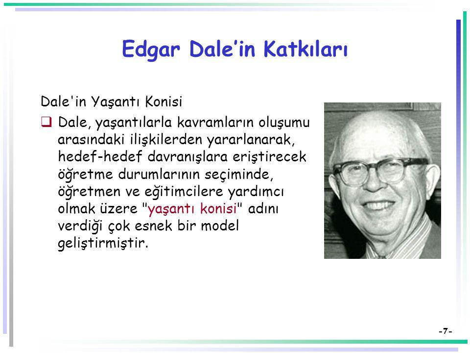 -7- Edgar Dale'in Katkıları Dale in Yaşantı Konisi  Dale, yaşantılarla kavramların oluşumu arasındaki ilişkilerden yararlanarak, hedef-hedef davranışlara eriştirecek öğretme durumlarının seçiminde, öğretmen ve eğitimcilere yardımcı olmak üzere yaşantı konisi adını verdiği çok esnek bir model geliştirmiştir.