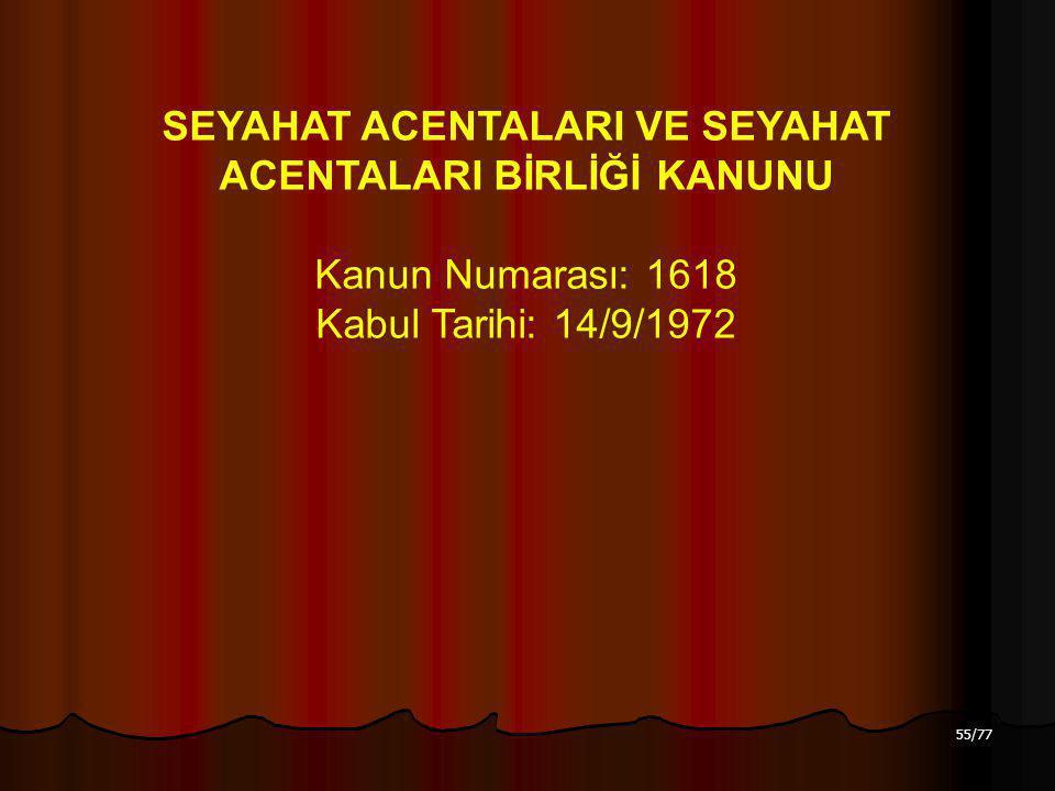 55/77 SEYAHAT ACENTALARI VE SEYAHAT ACENTALARI BİRLİĞİ KANUNU Kanun Numarası: 1618 Kabul Tarihi: 14/9/1972