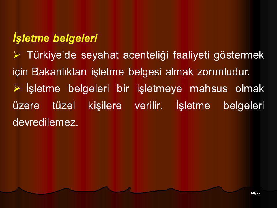 60/77 İşletme belgeleri  Türkiye'de seyahat acenteliği faaliyeti göstermek için Bakanlıktan işletme belgesi almak zorunludur.