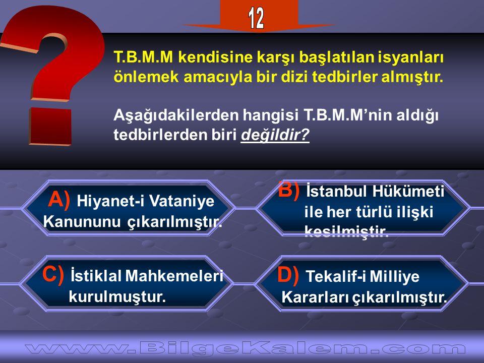 T.B.M.M kendisine karşı başlatılan isyanları önlemek amacıyla bir dizi tedbirler almıştır.