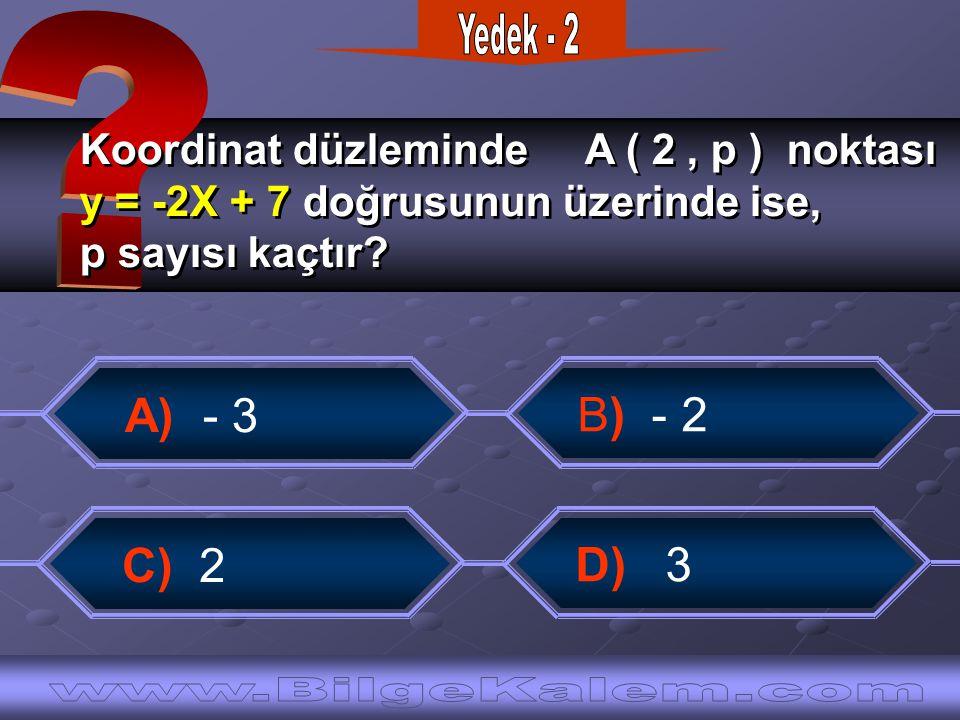 Koordinat düzleminde A ( 2, p ) noktası y = -2X + 7 doğrusunun üzerinde ise, p sayısı kaçtır.
