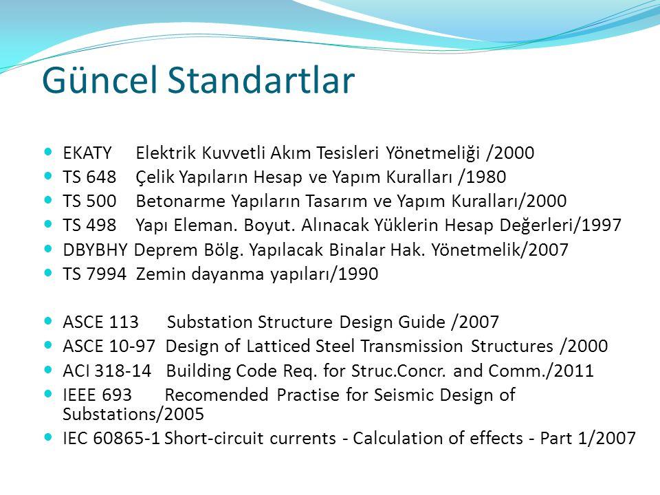 Güncel Standartlar EKATY Elektrik Kuvvetli Akım Tesisleri Yönetmeliği /2000 TS 648 Çelik Yapıların Hesap ve Yapım Kuralları /1980 TS 500 Betonarme Yap