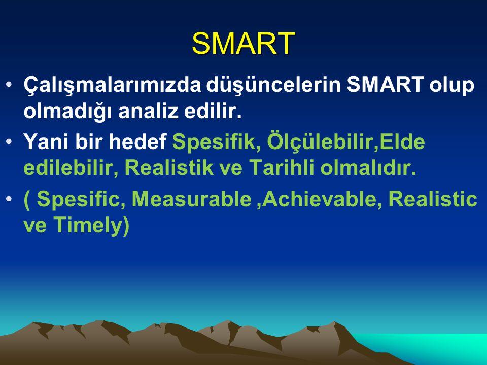 SMART Çalışmalarımızda düşüncelerin SMART olup olmadığı analiz edilir.