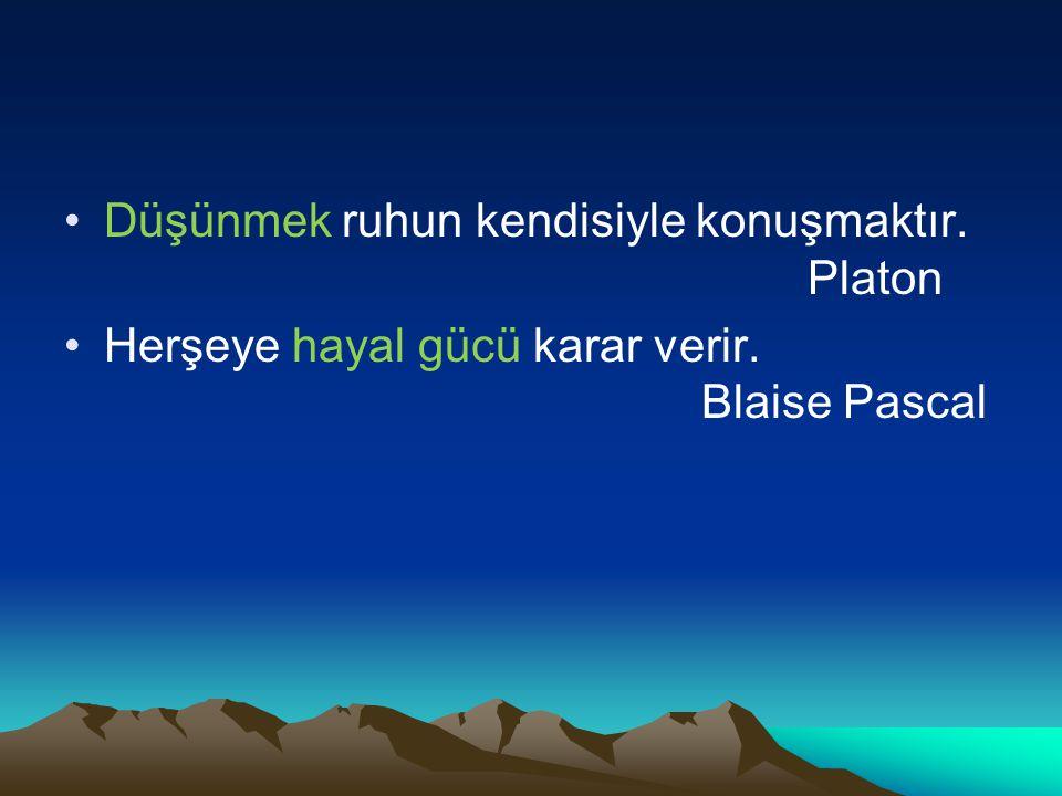 Düşünmek ruhun kendisiyle konuşmaktır. Platon Herşeye hayal gücü karar verir. Blaise Pascal
