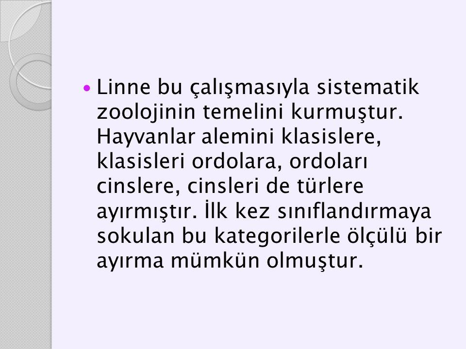 Linne bu çalışmasıyla sistematik zoolojinin temelini kurmuştur. Hayvanlar alemini klasislere, klasisleri ordolara, ordoları cinslere, cinsleri de türl