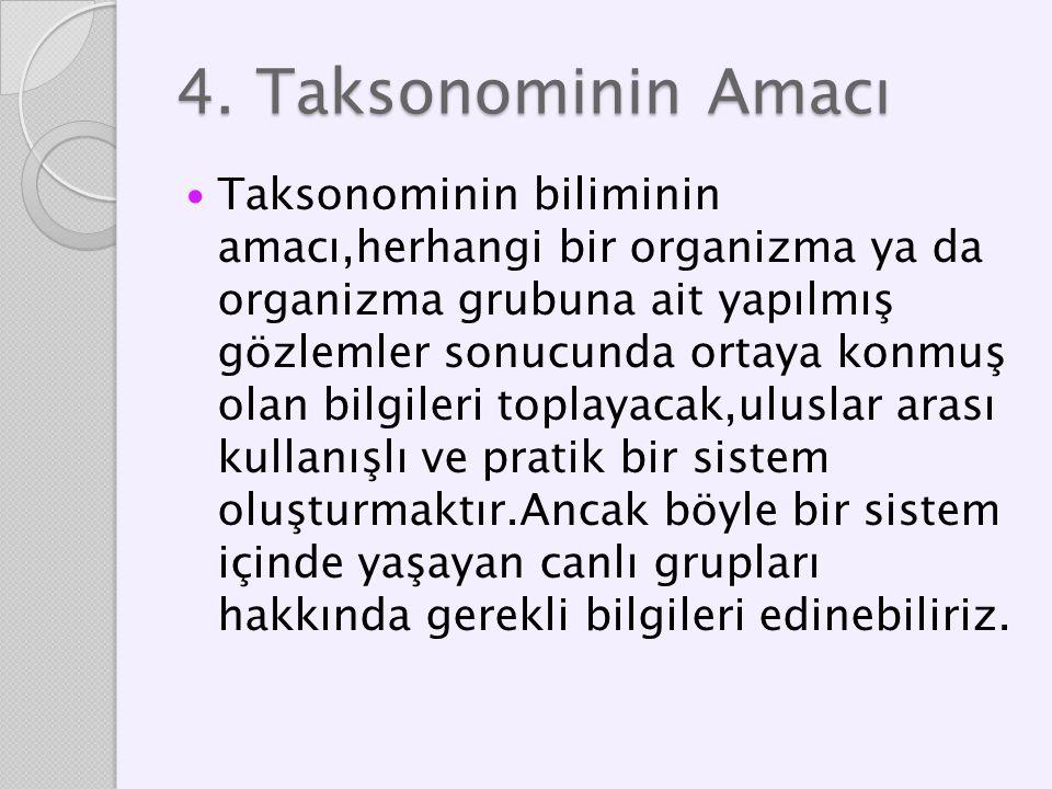 4. Taksonominin Amacı Taksonominin biliminin amacı,herhangi bir organizma ya da organizma grubuna ait yapılmış gözlemler sonucunda ortaya konmuş olan