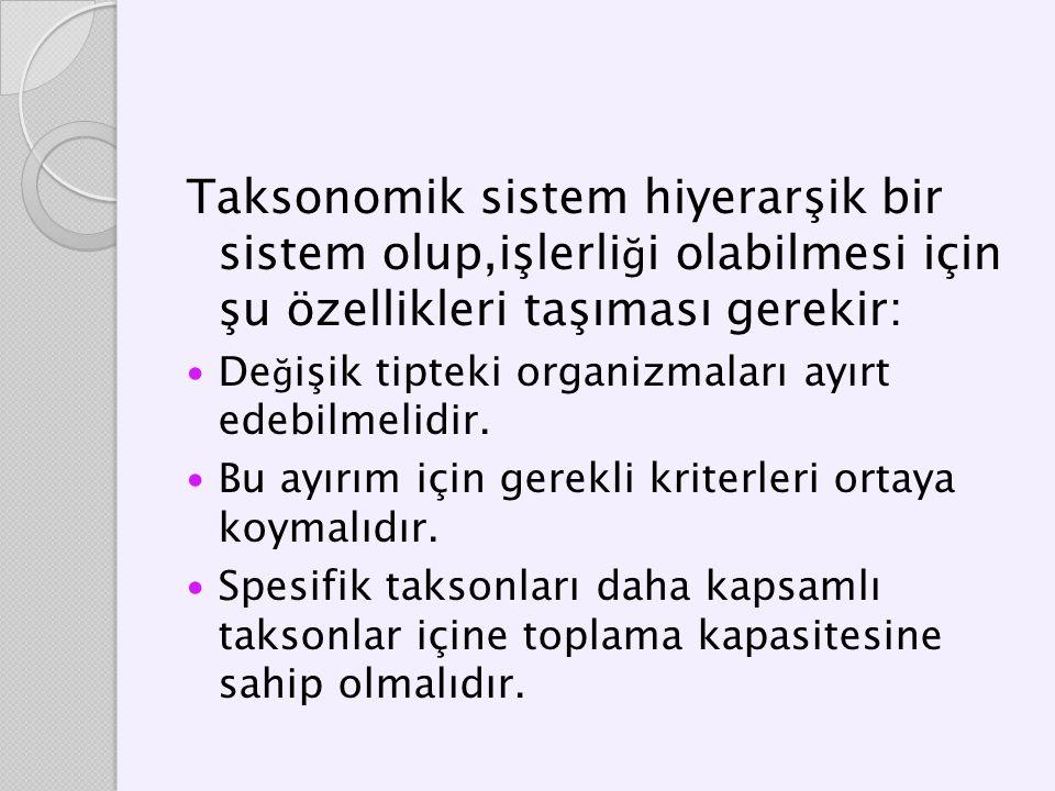 Taksonomik sistem hiyerarşik bir sistem olup,işlerli ğ i olabilmesi için şu özellikleri taşıması gerekir: De ğ işik tipteki organizmaları ayırt edebil