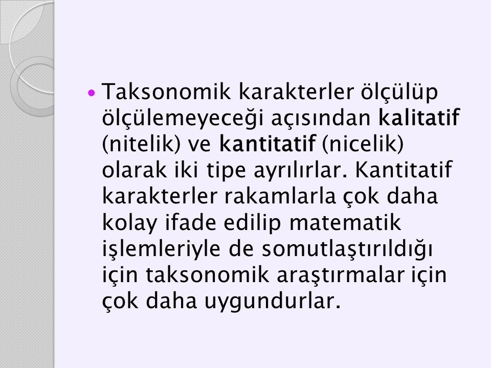 Taksonomik karakterler ölçülüp ölçülemeyeceği açısından kalitatif (nitelik) ve kantitatif (nicelik) olarak iki tipe ayrılırlar. Kantitatif karakterler