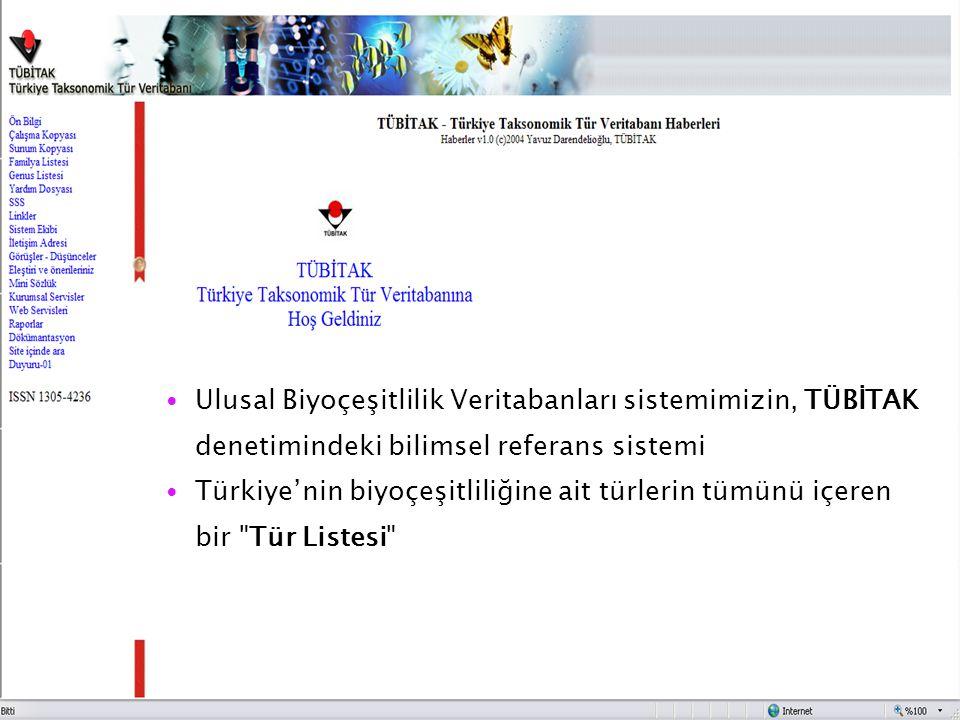 Ulusal Biyoçeşitlilik Veritabanları sistemimizin, TÜBİTAK denetimindeki bilimsel referans sistemi Türkiye'nin biyoçeşitliliğine ait türlerin tümünü iç