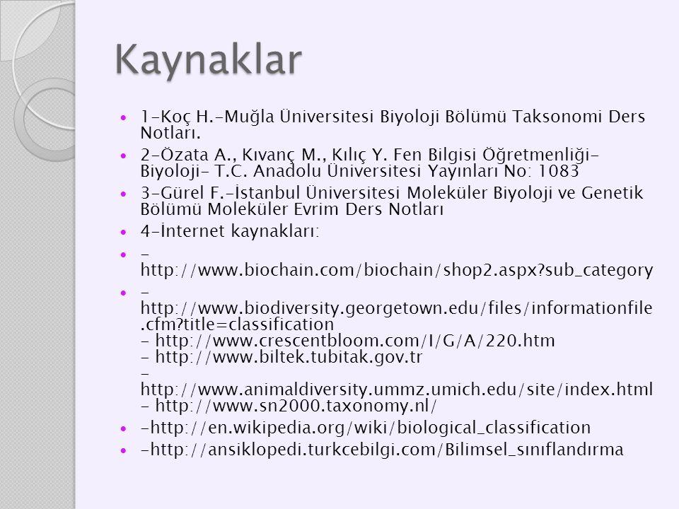 Kaynaklar 1-Koç H.-Muğla Üniversitesi Biyoloji Bölümü Taksonomi Ders Notları. 2-Özata A., Kıvanç M., Kılıç Y. Fen Bilgisi Öğretmenliği- Biyoloji- T.C.