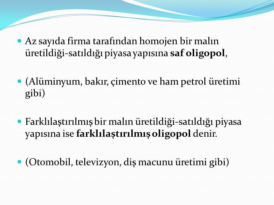 Az sayıda firma tarafından homojen bir malın üretildiği-satıldığı piyasa yapısına saf oligopol, (Alüminyum, bakır, çimento ve ham petrol üretimi gibi)