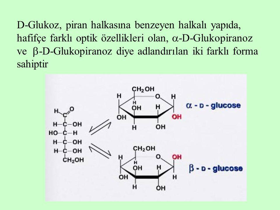 D-Glukoz, piran halkasına benzeyen halkalı yapıda, hafifçe farklı optik özellikleri olan,  -D-Glukopiranoz ve  -D-Glukopiranoz diye adlandırılan iki
