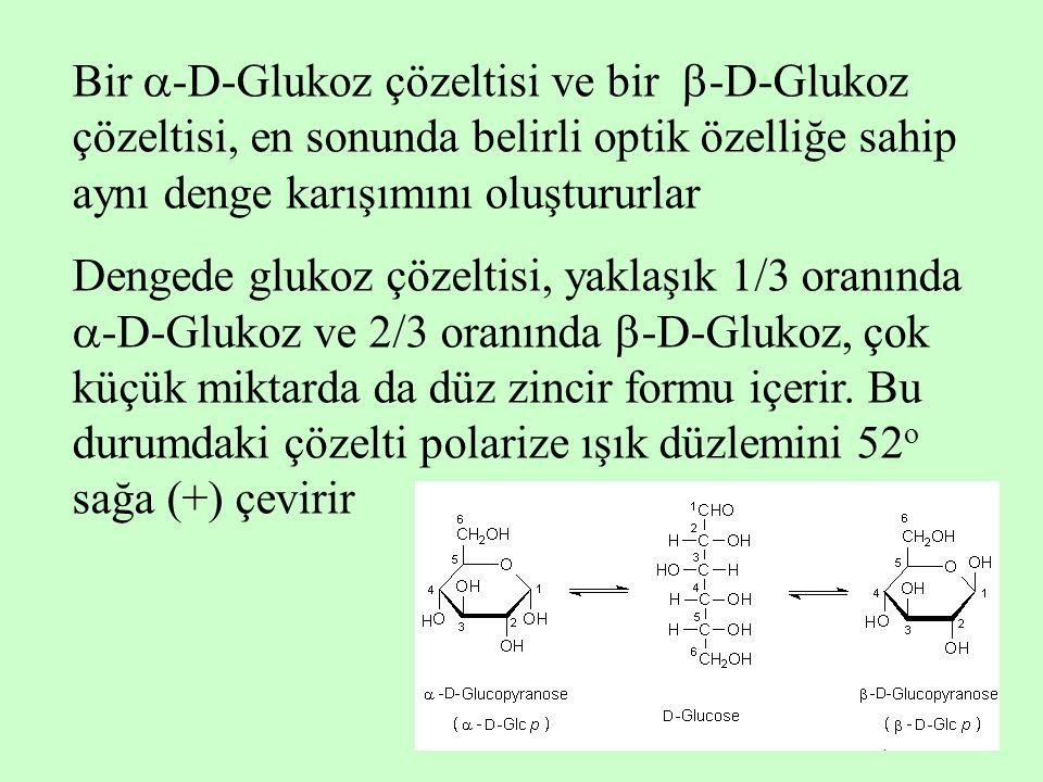 Bir  -D-Glukoz çözeltisi ve bir  -D-Glukoz çözeltisi, en sonunda belirli optik özelliğe sahip aynı denge karışımını oluştururlar Dengede glukoz çöze