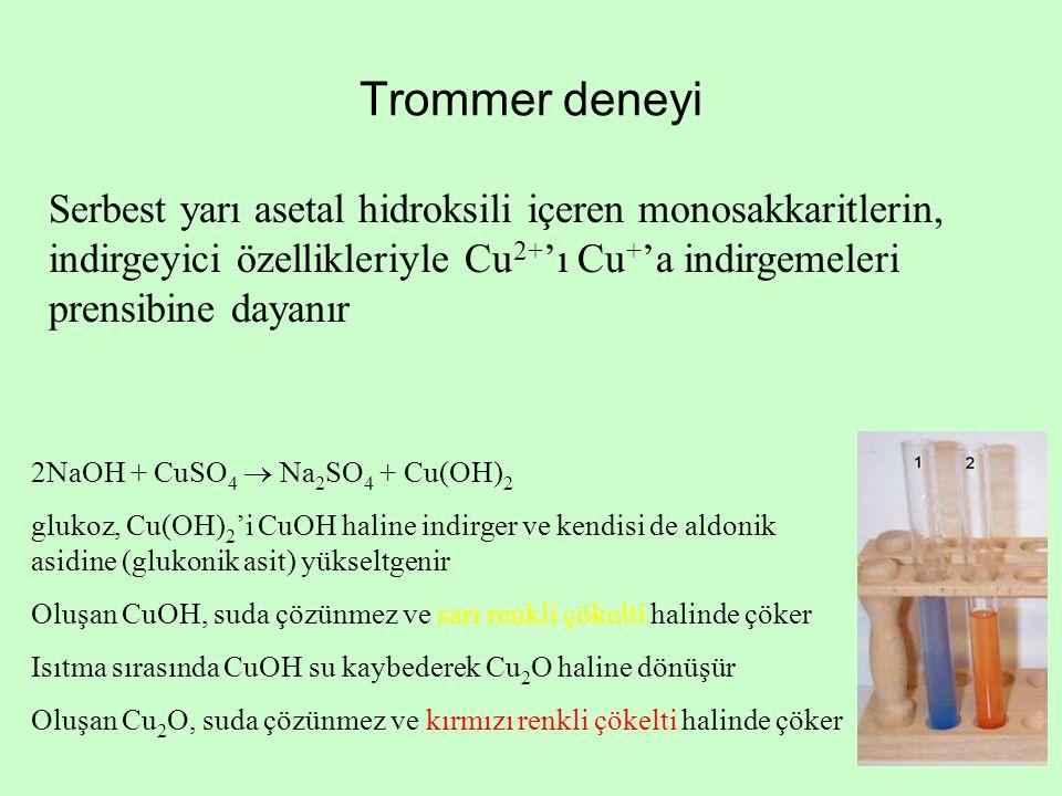 Trommer deneyi Serbest yarı asetal hidroksili içeren monosakkaritlerin, indirgeyici özellikleriyle Cu 2+ 'ı Cu + 'a indirgemeleri prensibine dayanır 2