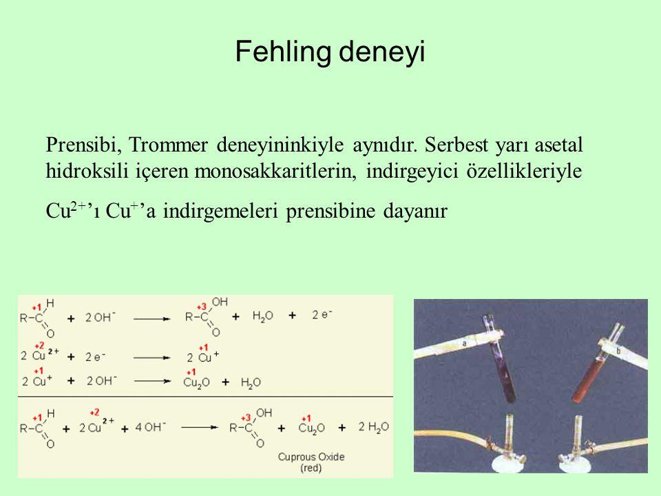 Fehling deneyi Prensibi, Trommer deneyininkiyle aynıdır. Serbest yarı asetal hidroksili içeren monosakkaritlerin, indirgeyici özellikleriyle Cu 2+ 'ı