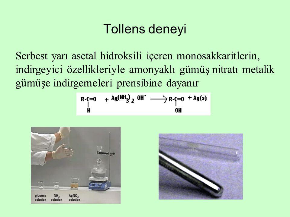 Tollens deneyi Serbest yarı asetal hidroksili içeren monosakkaritlerin, indirgeyici özellikleriyle amonyaklı gümüş nitratı metalik gümüşe indirgemeler