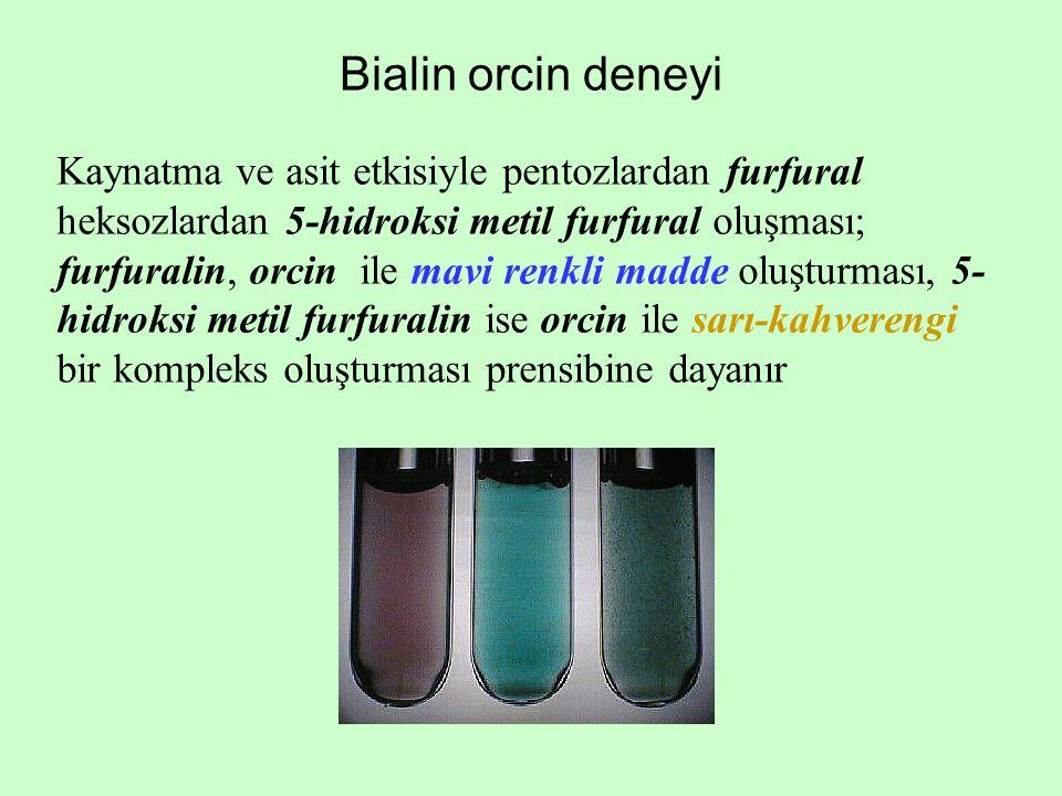 Bialin orcin deneyi Kaynatma ve asit etkisiyle pentozlardan furfural heksozlardan 5-hidroksi metil furfural oluşması; furfuralin, orcin ile mavi renkl