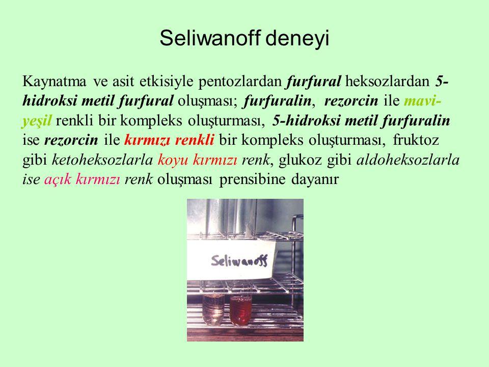Seliwanoff deneyi Kaynatma ve asit etkisiyle pentozlardan furfural heksozlardan 5- hidroksi metil furfural oluşması; furfuralin, rezorcin ile mavi- ye
