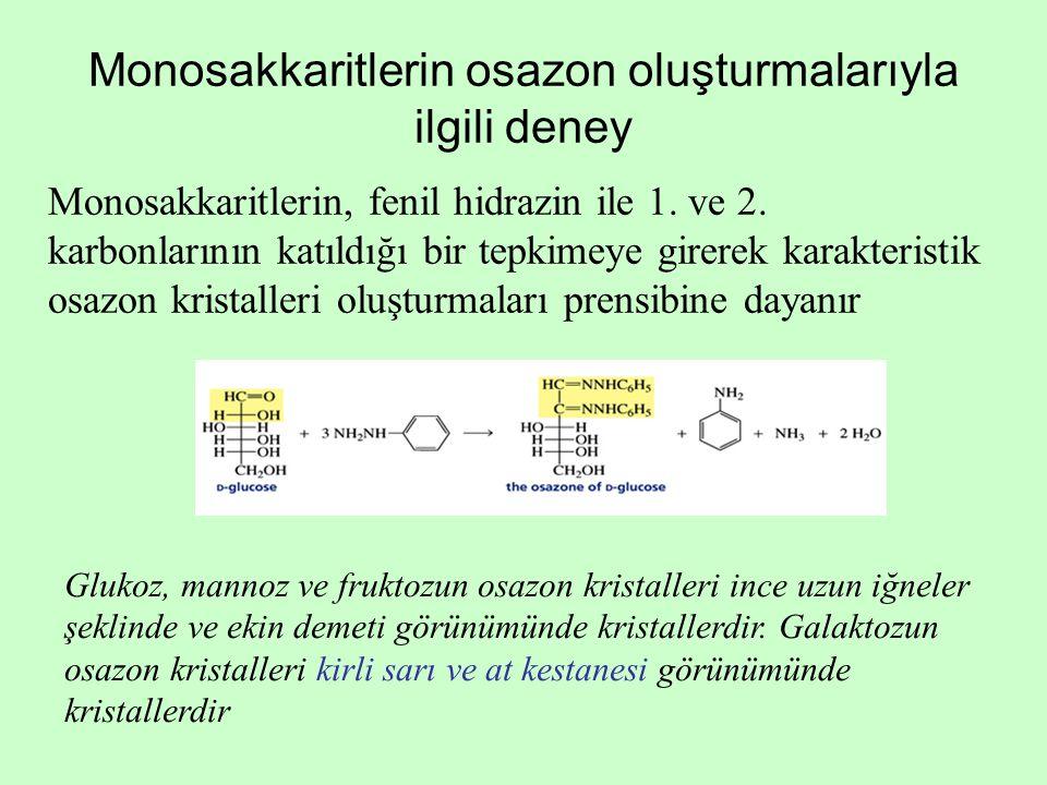 Monosakkaritlerin osazon oluşturmalarıyla ilgili deney Monosakkaritlerin, fenil hidrazin ile 1. ve 2. karbonlarının katıldığı bir tepkimeye girerek ka