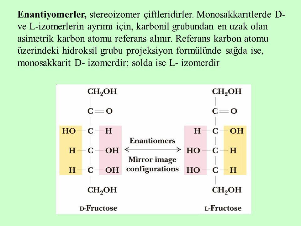 Enantiyomerler, stereoizomer çiftleridirler. Monosakkaritlerde D- ve L-izomerlerin ayrımı için, karbonil grubundan en uzak olan asimetrik karbon atomu
