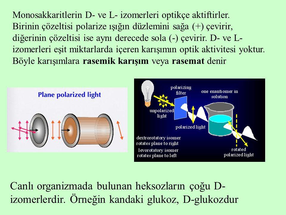 Monosakkaritlerin D- ve L- izomerleri optikçe aktiftirler. Birinin çözeltisi polarize ışığın düzlemini sağa (+) çevirir, diğerinin çözeltisi ise aynı