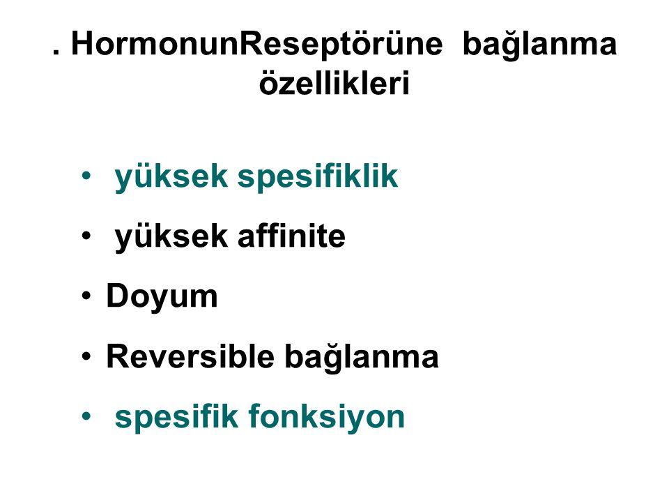 . HormonunReseptörüne bağlanma özellikleri yüksek spesifiklik yüksek affinite Doyum Reversible bağlanma spesifik fonksiyon