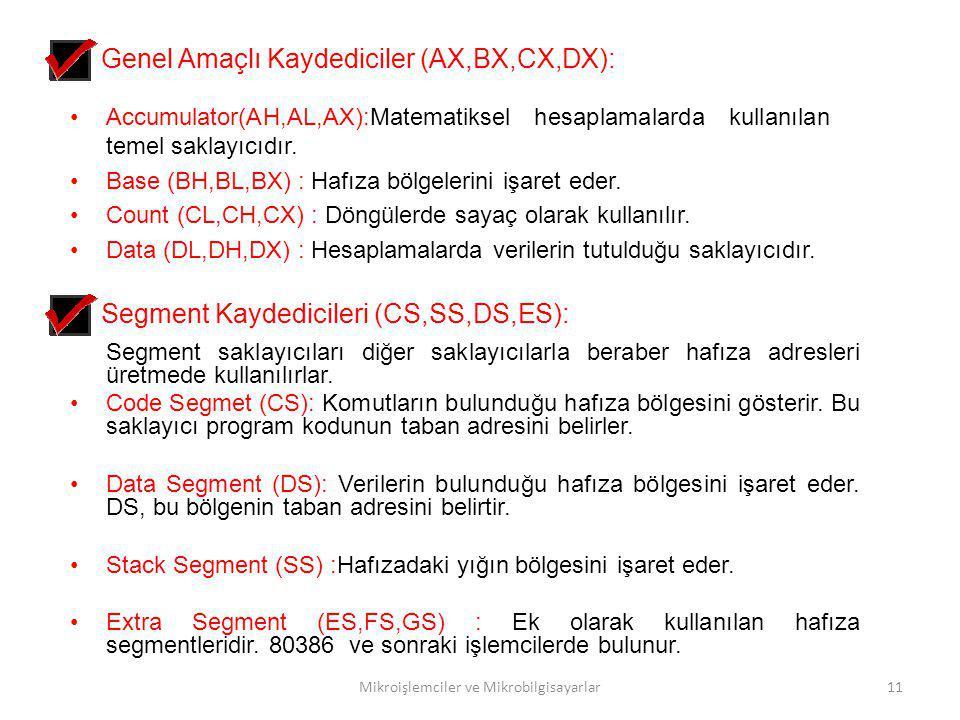 Mikroişlemciler ve Mikrobilgisayarlar11 Genel Amaçlı Kaydediciler (AX,BX,CX,DX): Accumulator(AH,AL,AX):Matematiksel hesaplamalarda kullanılan temel sa