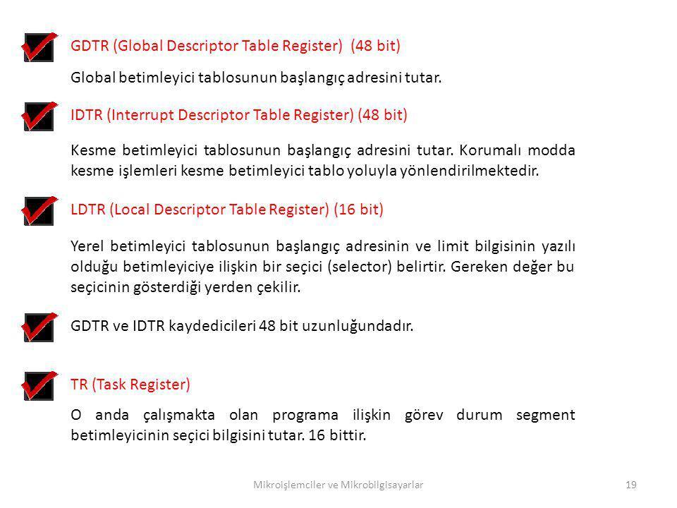 Mikroişlemciler ve Mikrobilgisayarlar19 GDTR (Global Descriptor Table Register) (48 bit) Global betimleyici tablosunun başlangıç adresini tutar. IDTR