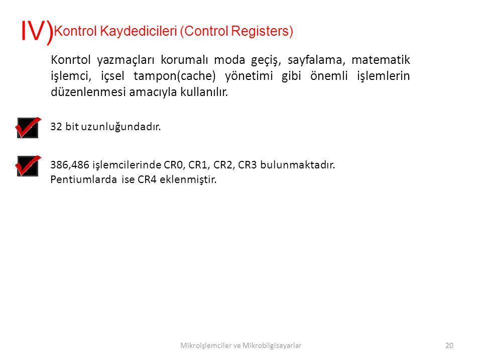 Mikroişlemciler ve Mikrobilgisayarlar20 Kontrol Kaydedicileri (Control Registers) IV) Konrtol yazmaçları korumalı moda geçiş, sayfalama, matematik işl
