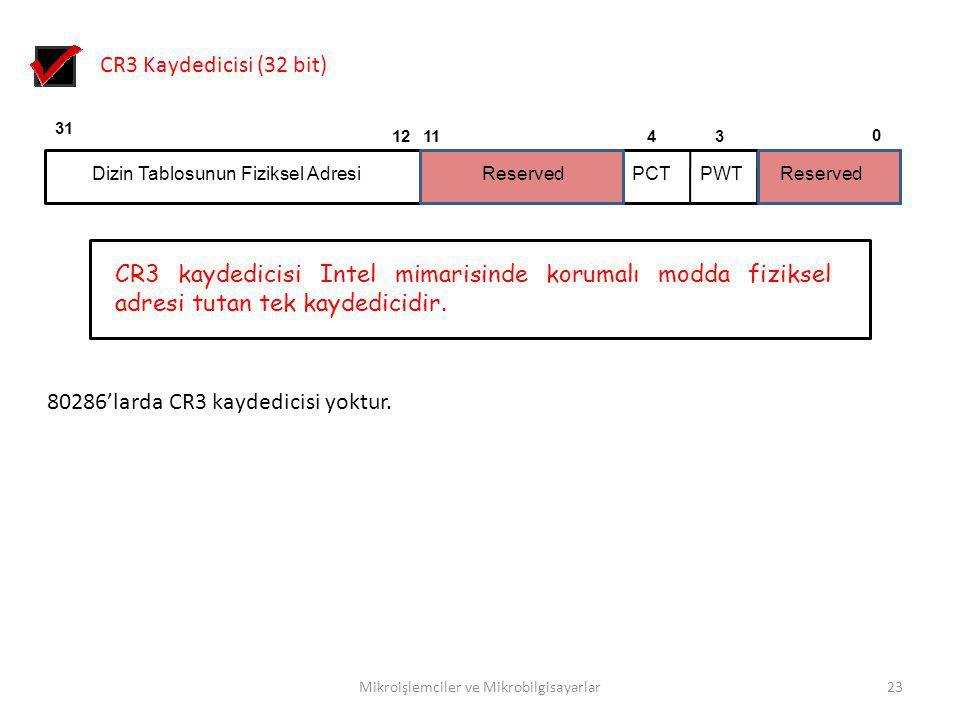 Mikroişlemciler ve Mikrobilgisayarlar23 CR3 Kaydedicisi (32 bit) 0 31 Dizin Tablosunun Fiziksel Adresi 341112 Reserved PWTPCT CR3 kaydedicisi Intel mi