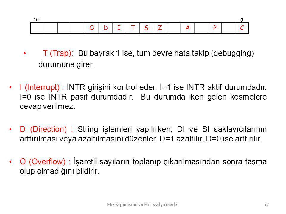 Mikroişlemciler ve Mikrobilgisayarlar27 T (Trap): Bu bayrak 1 ise, tüm devre hata takip (debugging) durumuna girer. I (Interrupt) : INTR girişini kont