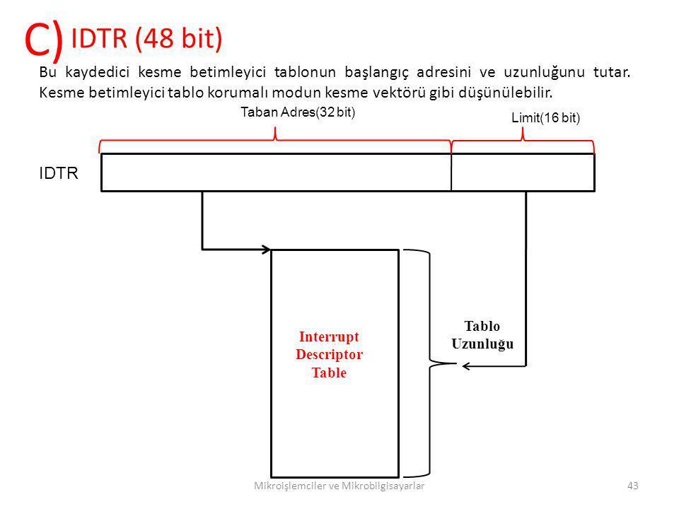 Mikroişlemciler ve Mikrobilgisayarlar43 IDTR (48 bit) C) Bu kaydedici kesme betimleyici tablonun başlangıç adresini ve uzunluğunu tutar. Kesme betimle