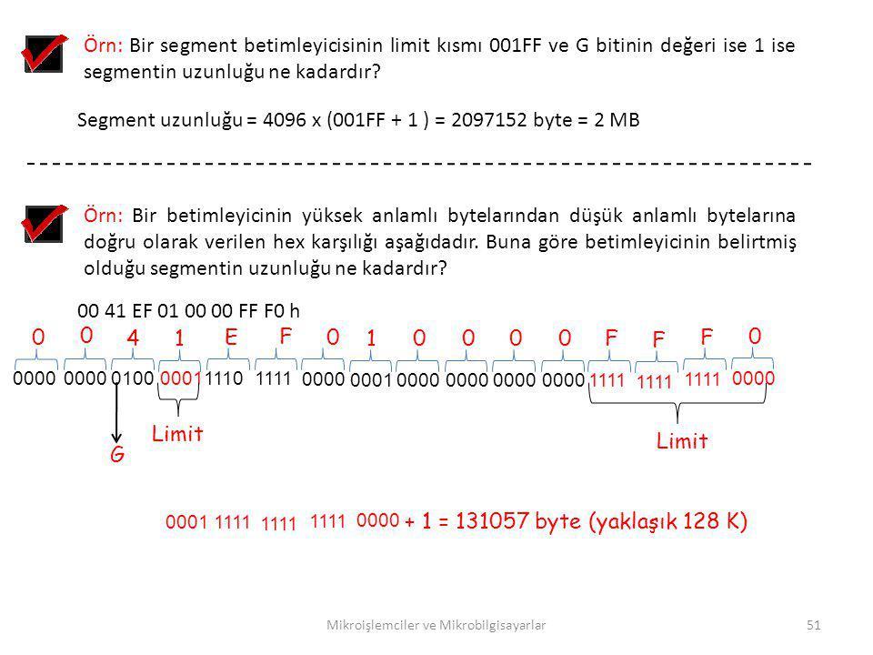 Mikroişlemciler ve Mikrobilgisayarlar51 Örn: Bir segment betimleyicisinin limit kısmı 001FF ve G bitinin değeri ise 1 ise segmentin uzunluğu ne kadard