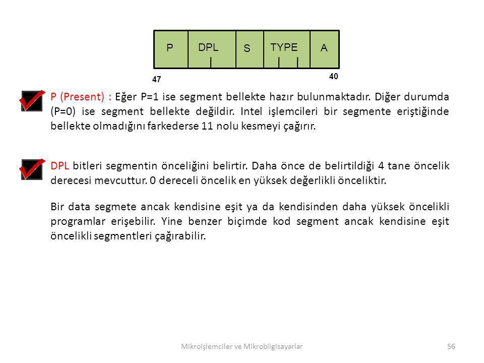 Mikroişlemciler ve Mikrobilgisayarlar56 TYPE S P DPL 40 47 A P (Present) : Eğer P=1 ise segment bellekte hazır bulunmaktadır. Diğer durumda (P=0) ise