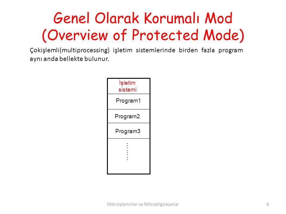 Genel Olarak Korumalı Mod (Overview of Protected Mode) Mikroişlemciler ve Mikrobilgisayarlar6 Çokişlemli(multiprocessing) işletim sistemlerinde birden