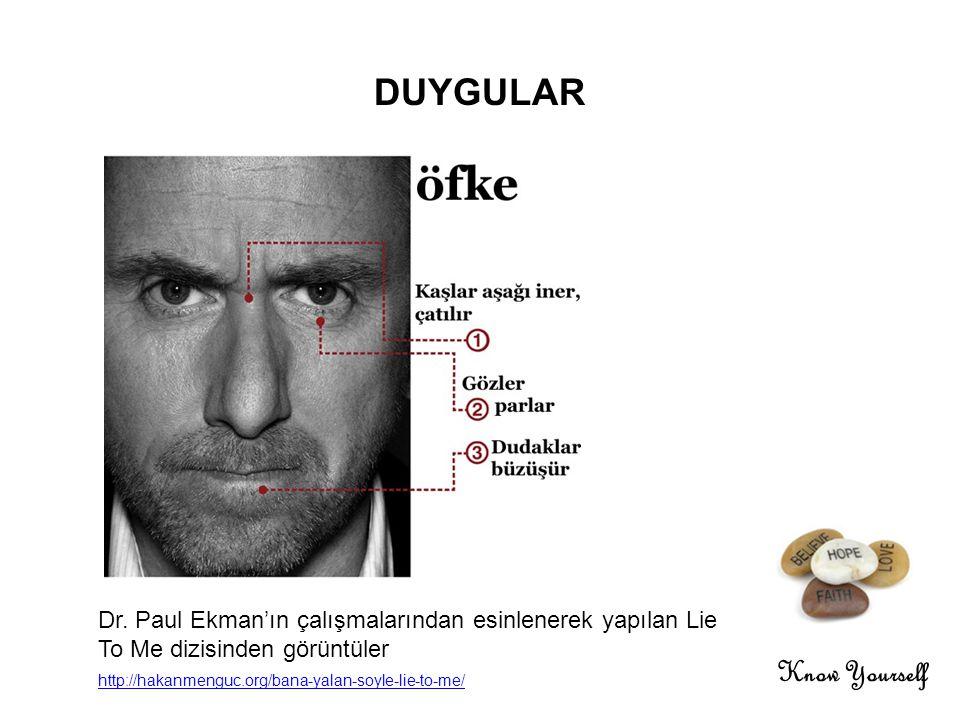 Know Yourself DUYGULAR Dr. Paul Ekman'ın çalışmalarından esinlenerek yapılan Lie To Me dizisinden görüntüler http://hakanmenguc.org/bana-yalan-soyle-l