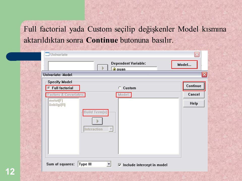 12 Full factorial yada Custom seçilip değişkenler Model kısmına aktarıldıktan sonra Continue butonuna basılır.