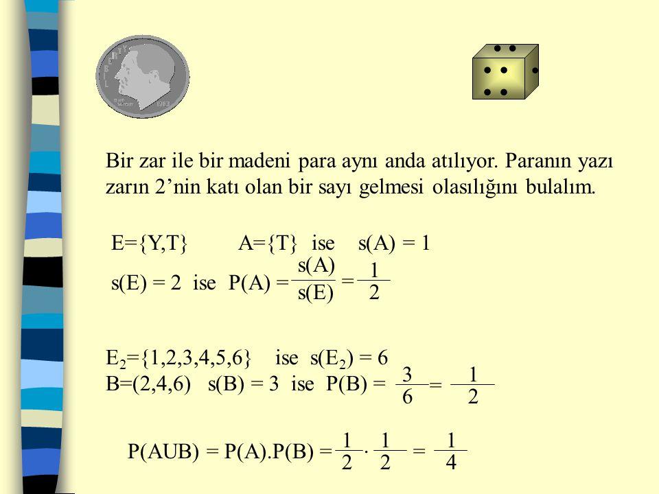 İki zar birlikte atılıyor.Gelen sayıların toplamının 10 gelme olasılığı nedir? A={(4,6),(6,4),(5,5)} s(A)=3 E={(1,1),(1,2),(1,3),(1,4),(1,5),(1,6),(2,