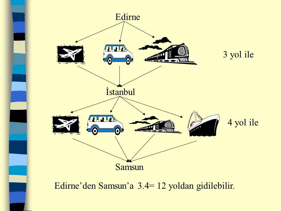 PERMÜTASYON VE OLASILIK PERMÜTASYON Genel Çarpma Özelliği: Art arda iki işlemden biri a farklı yoldan, ikincisi birinciye bağlı olarak b farlı yoldan