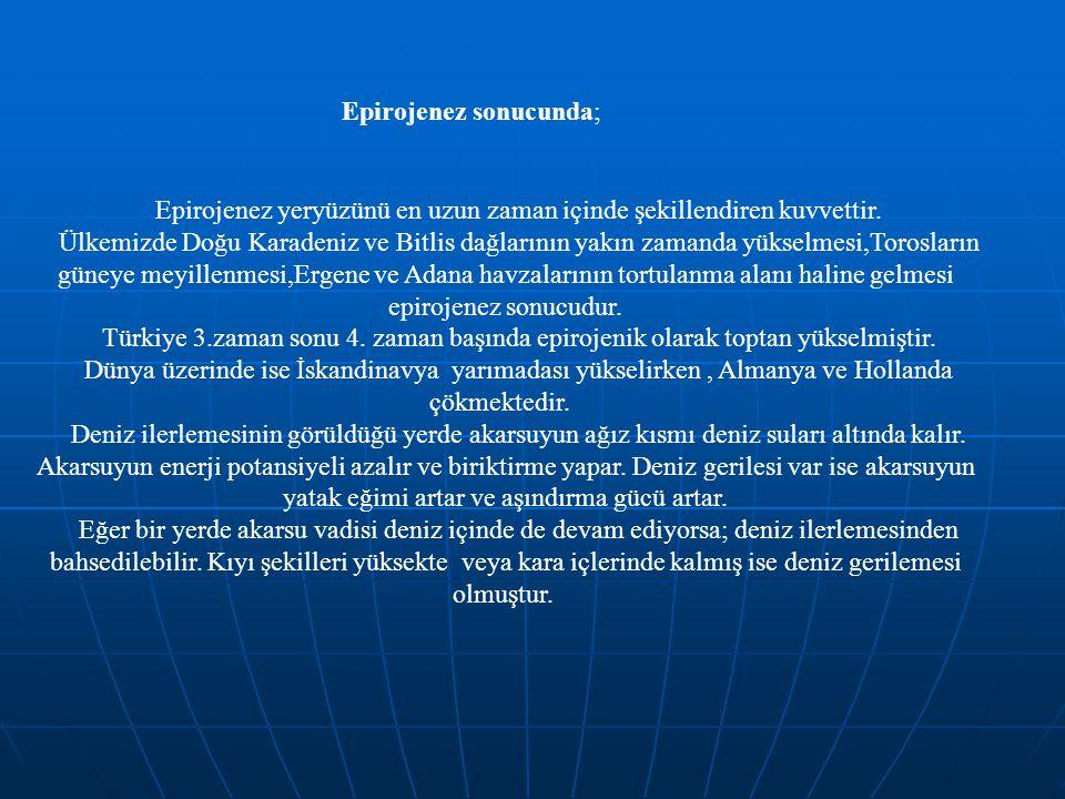 Epirojenez sonucunda; Epirojenez yeryüzünü en uzun zaman içinde şekillendiren kuvvettir. Ülkemizde Doğu Karadeniz ve Bitlis dağlarının yakın zamanda y