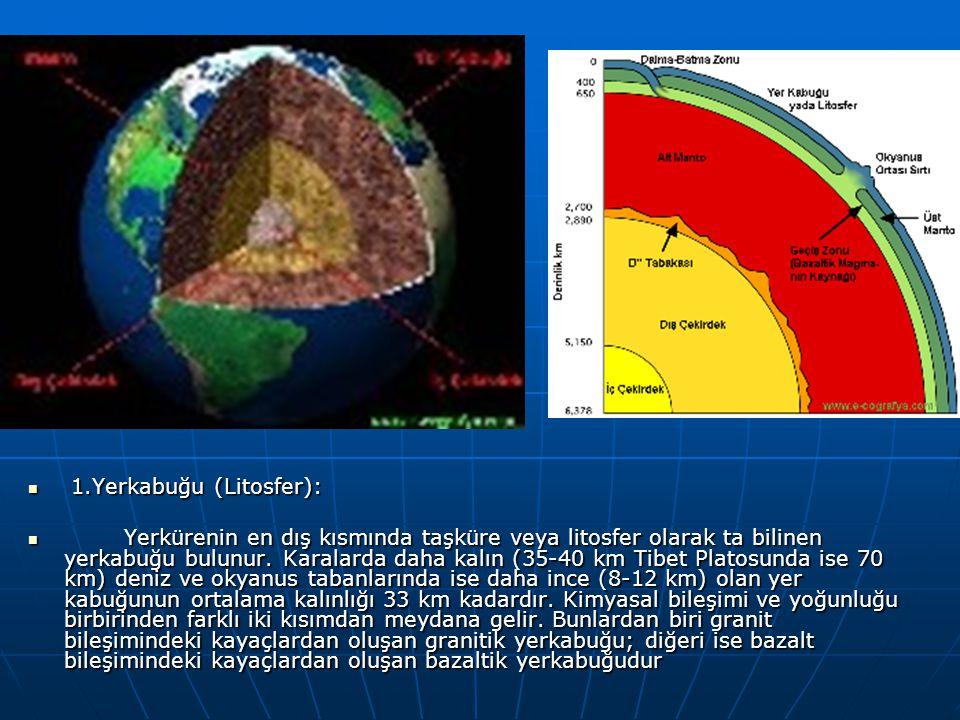 1.Yerkabuğu (Litosfer): 1.Yerkabuğu (Litosfer): Yerkürenin en dış kısmında taşküre veya litosfer olarak ta bilinen yerkabuğu bulunur. Karalarda daha k