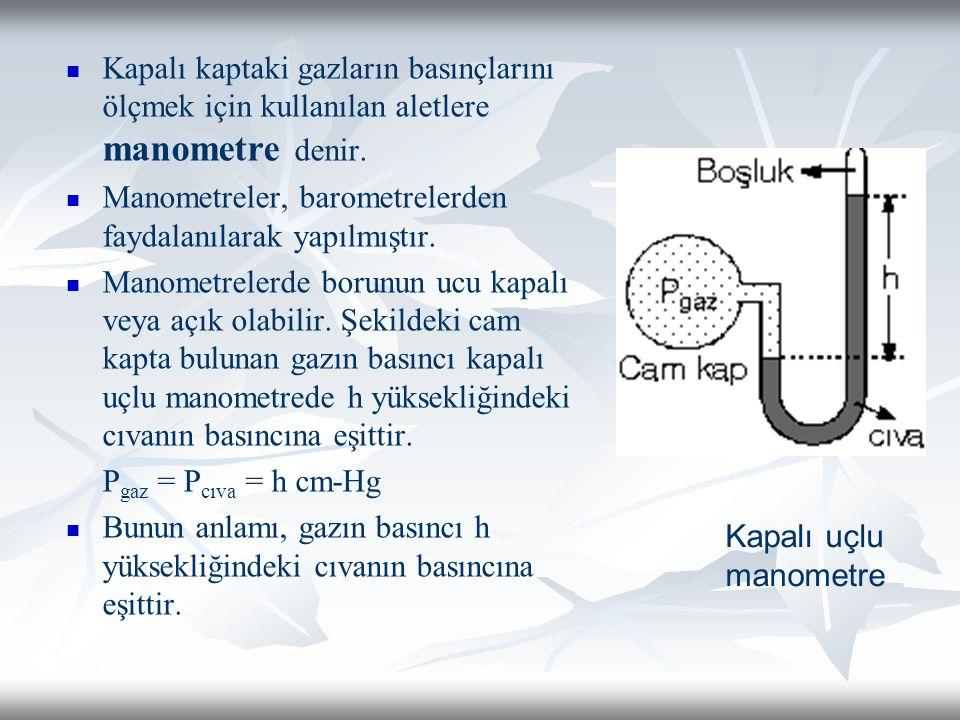 Kapalı kaptaki gazların basınçlarını ölçmek için kullanılan aletlere manometre denir. Manometreler, barometrelerden faydalanılarak yapılmıştır. Manome
