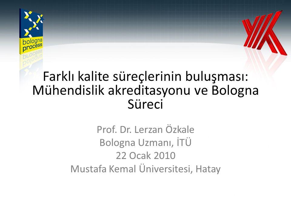 Farklı kalite süreçlerinin buluşması: Mühendislik akreditasyonu ve Bologna Süreci Prof. Dr. Lerzan Özkale Bologna Uzmanı, İTÜ 22 Ocak 2010 Mustafa Kem