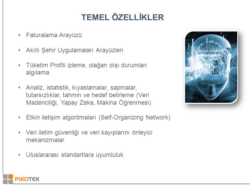 TEMEL ÖZELLİKLER Faturalama Arayüzü Akıllı Şehir Uygulamaları Arayüzleri Tüketim Profili izleme, olağan dışı durumları algılama Analiz, istatistik, kıyaslamalar, sapmalar, tutarsızlıklar, tahmin ve hedef belirleme (Veri Madenciliği, Yapay Zeka, Makina Öğrenmesi) Etkin iletişim algoritmaları (Self-Organizing Network) Veri iletim güvenliği ve veri kayıplarını önleyici mekanizmalar Uluslararası standartlara uyumluluk