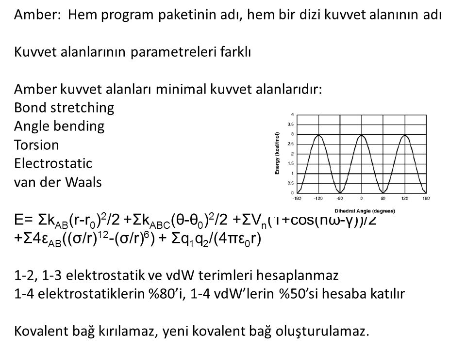 Amber: Hem program paketinin adı, hem bir dizi kuvvet alanının adı Kuvvet alanlarının parametreleri farklı Amber kuvvet alanları minimal kuvvet alanlarıdır: Bond stretching Angle bending Torsion Electrostatic van der Waals E= Σk AB (r-r 0 ) 2 /2 +Σk ABC (θ-θ 0 ) 2 /2 +ΣV n (1+cos(nω-γ))/2 +Σ4ε AB ((σ/r) 12 -(σ/r) 6 ) + Σq 1 q 2 /(4πε 0 r) 1-2, 1-3 elektrostatik ve vdW terimleri hesaplanmaz 1-4 elektrostatiklerin %80'i, 1-4 vdW'lerin %50'si hesaba katılır Kovalent bağ kırılamaz, yeni kovalent bağ oluşturulamaz.
