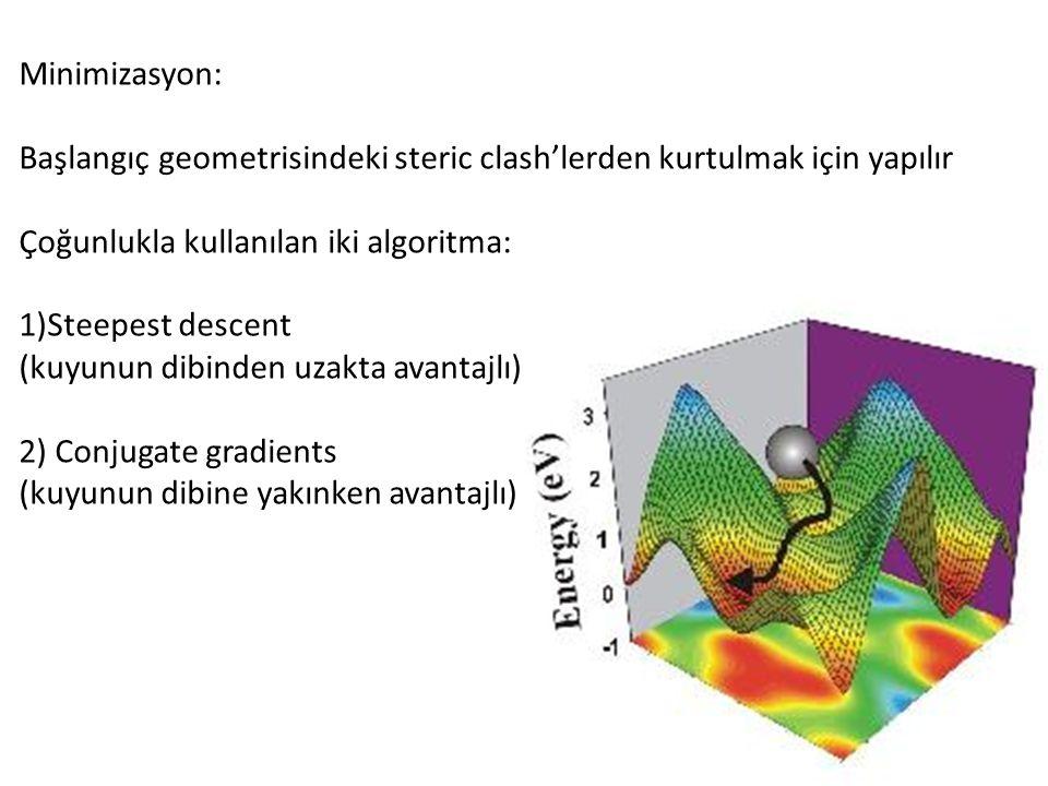 Minimizasyon: Başlangıç geometrisindeki steric clash'lerden kurtulmak için yapılır Çoğunlukla kullanılan iki algoritma: 1)Steepest descent (kuyunun dibinden uzakta avantajlı) 2) Conjugate gradients (kuyunun dibine yakınken avantajlı)