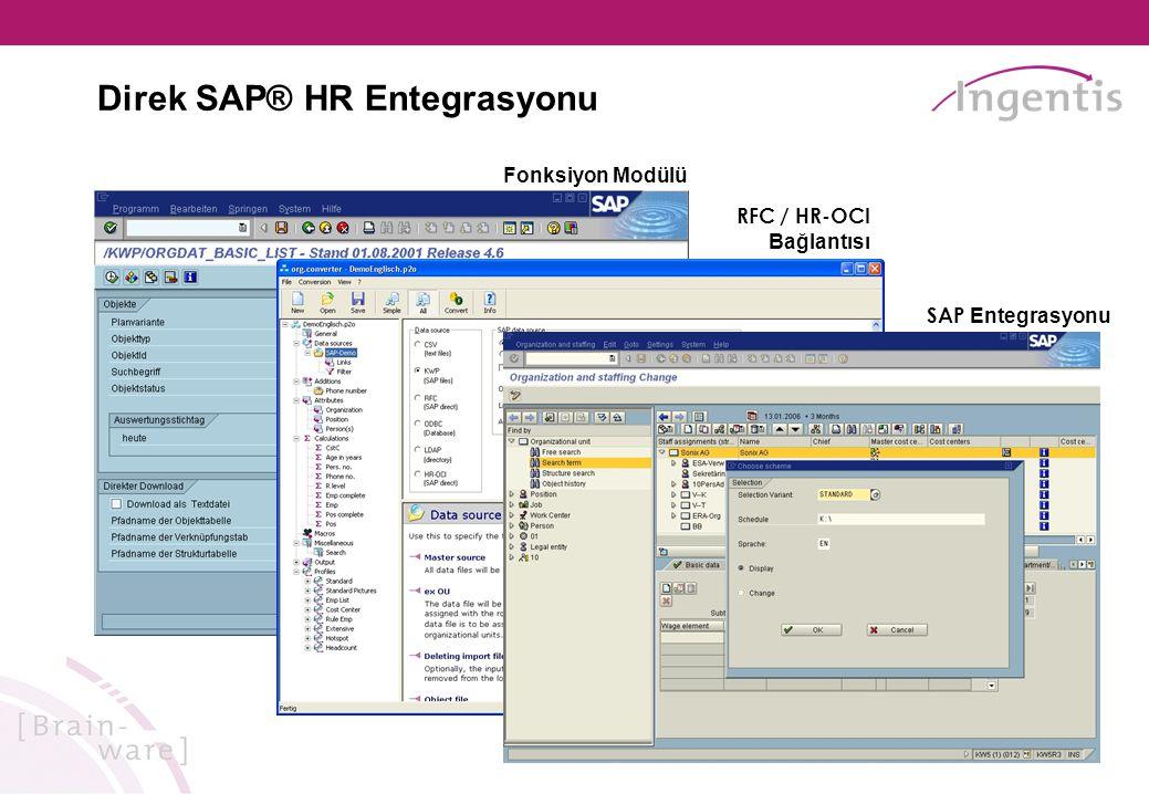 Direk SAP® HR Entegrasyonu Fonksiyon Modülü RFC / HR-OCI Bağlantısı SAP Entegrasyonu