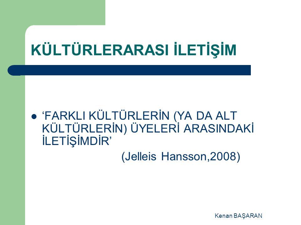 Kenan BAŞARAN KÜLTÜRLERARASI İLETİŞİM 'FARKLI KÜLTÜRLERİN (YA DA ALT KÜLTÜRLERİN) ÜYELERİ ARASINDAKİ İLETİŞİMDİR' (Jelleis Hansson,2008)
